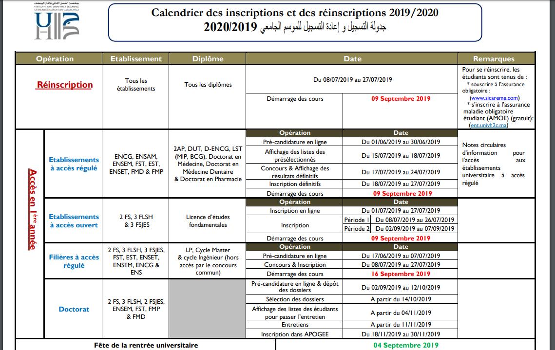 Université Hassan II : Université Hassan II : Calendrier des inscriptions et des réinscriptions 2019/2020